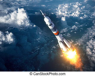 Carrier Rocket Launch In The Clouds