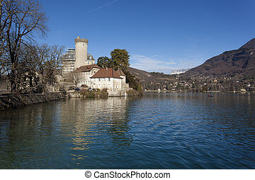 Castle of Duingt, Annecy lake, Haute-Savoie, Rhone-Alpes,...