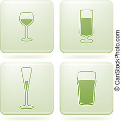 Olivine Square 2D Icons Set: Alcohol glass - Range of...