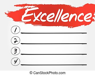 Excellence blank list, business concept