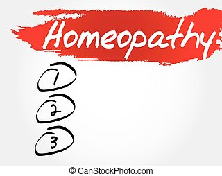 Homeopathy blank list, health concept