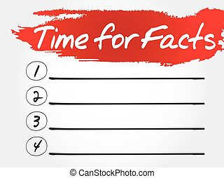 Time for Facts blank list, business concept