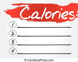 CALORIES blank list, fitness, sport, health concept