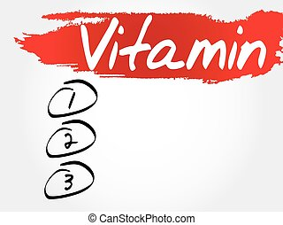 VITAMIN blank list, fitness, sport, health concept