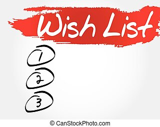 Wish List blank list, business concept