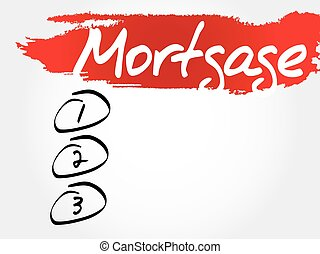 Mortgage blank list, business concept