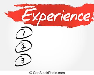 Experience blank list, business concept