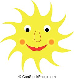 Cute smiling sun isolated on white background