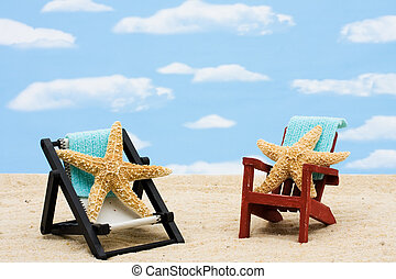 Relaxing on Vacation - A lounge chairs with starfishes on a...