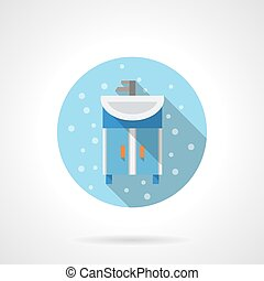 Bathroom washstand round flat color vector icon - Blue...