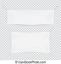 White textile banners with folds template set. Separate...