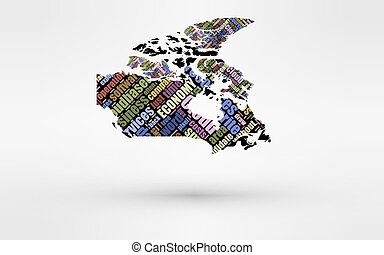 Map of Canada. Theme of economy and global finance. Hi-tech technology as cloud computing, services, business, small companies, hr costs, time use and others.
