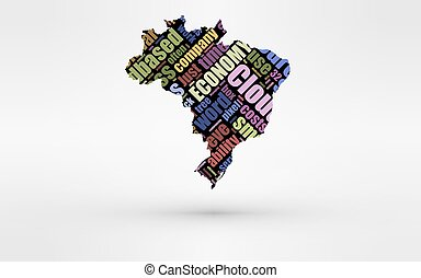 Map of Brasil. Theme of economy and global finance. Hi-tech technology as cloud computing, services, business, small companies, hr costs, time use and others.