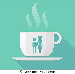 Long shadow cup of coffee with a childhood pictogram -...