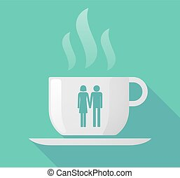 Long shadow cup of coffee with a heterosexual couple...