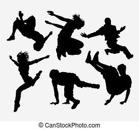 Parkour extreme sport silhouette - Parkour, dancer, martial...
