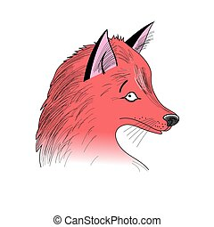 portrait of Fox - Beautiful graphic portrait of Fox