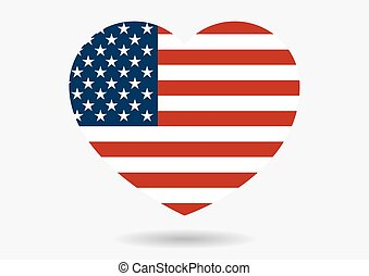 Illustration of USA flag in heart shape with shadow