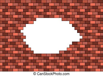 Broken red brick wall with big white hole inside with copyspace