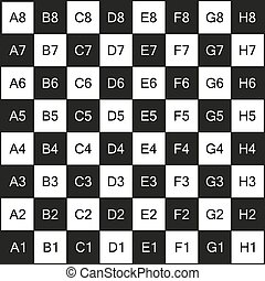 Chessboard with coordinates, isolated on white - Chessboard...