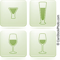 Olivine Square 2D Icons Set: Alcohol glass