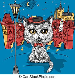 Cat in Prague, Prague Castle and Charles Bridge - Vector...
