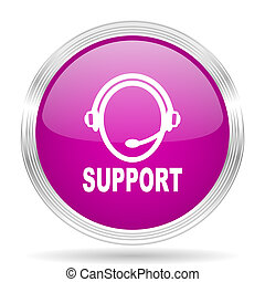 support pink modern web design glossy circle icon