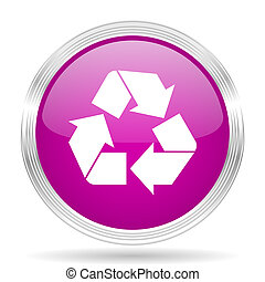 recycle pink modern web design glossy circle icon