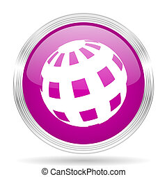 earth pink modern web design glossy circle icon