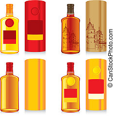 isolated whiskey bottle and boxes - fully editable vector...