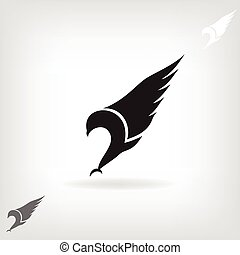 Black eagle with expanded wings - Black eagle isolated with...