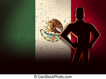 Silhouette Illustration of a Man Standing in Front of Mexico Flag