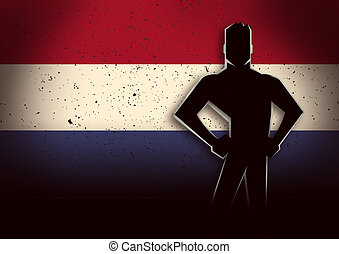 Silhouette Illustration of a Man Standing in Front of Netherland Flag
