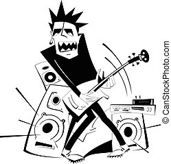 Let be where rock - Angry guitarist plays loud music using...