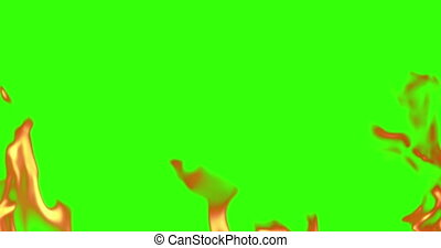 realistic fire flames burn movement frame on chroma key, green screen background loop seamless ready