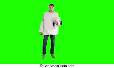 A man dressed as sheep reluctantly green screen
