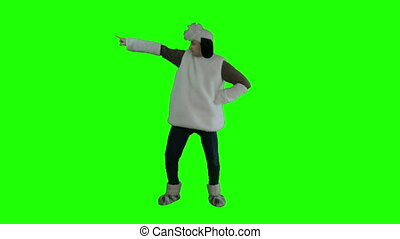 A man dressed as sheep fun dancing green screen