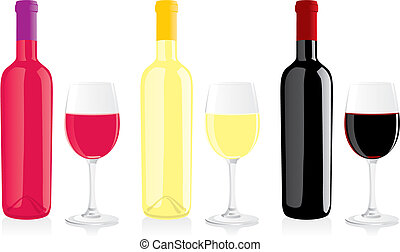 isolated wine bottles and glasses - fully editable vector...