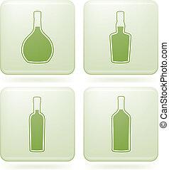 Cobalt Square 2D Icons Set: Alcohol bottles