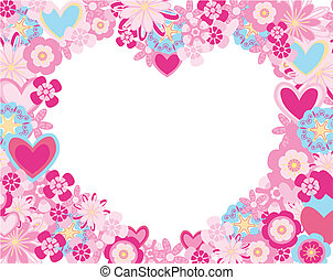 heart of flowers - abstract flowers and hearts frame