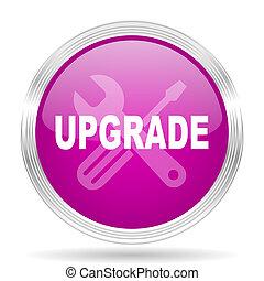 upgrade pink modern web design glossy circle icon