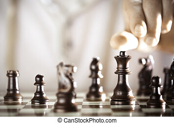 Chess player - Board game, chess player hand about to play,...