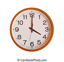 orange wall clock isolated in four oclock - orange wall...