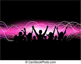 Party crowd - Silhouette of an excited crowd on an abstract...