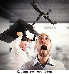 Tension in the office - Man throws chair to a man screaming