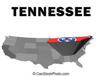 Tennessee - Outline map of the United States with the state...