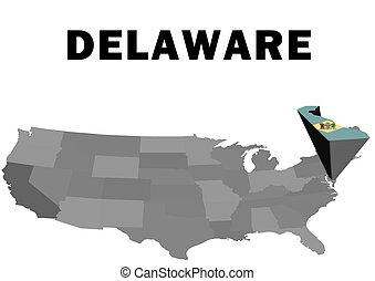 Delaware - Outline map of the United States with the state...