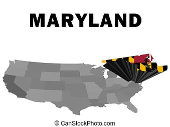 Maryland - Outline map of the United States with the state...