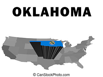 Oklahoma - Outline map of the United States with the state...