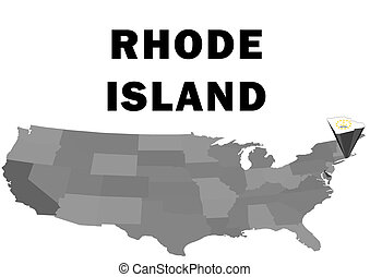 Rhode Island - Outline map of the United States with the...